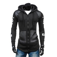 2017 Hoodies Men Sudaderas Hombre Hip Hop Mens Brand Letter Hooded Zipper Hoodie Sweatshirt Slim Stitching Men Hoody 3XL JKLY
