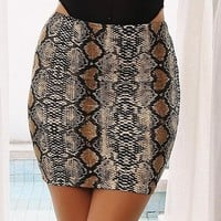 Gloria snake print high waist skirt