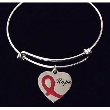 Red Ribbon of Hope Awareness Jewelry Adjustable Charm Bracelet Expandable One Size Fits All Gift