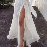 Split Skirt White Slim Prom Dress [8358431425]