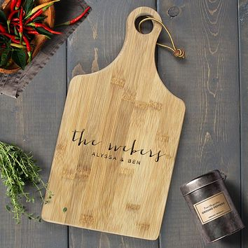 Personalized Engraved Paddle Cutting Board, Bamboo - CB08
