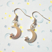 Pair of Moon and Star Earrings, Celestial, Pastel Goth, Soft Grunge, Kawaii Earrings, Dangle Charm Earrings