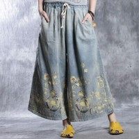 Yesno PD4 Women Cropped Denim Pants Trousers 100% Cotton Printed Casual Loose Fit Wide Leg Low Crotch
