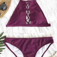 Cupshe Queen Plum Seduction Halter Bikini Set
