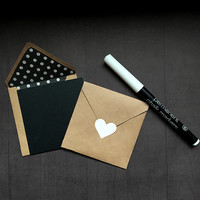 6 Blank Chalkboard note cards. Small 3 inch black square notecards with lined Kraft envelopes. Heart stickers, chalk marker included. DIY