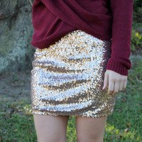Sequins of Events Skirt - Gold