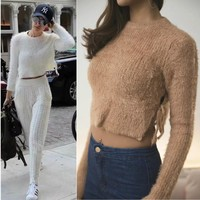 Sea Women's Fashion Hollow Out Crop Top Sweater [186298105882]