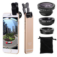 3 in 1 Wide Angle Macro Fisheye Lens Kit with Clip 0.67x Mobile Phone Fish Eye Lens for iPhone Lens Lentes Mobile Phone