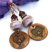 Dog Rescue Paw Print and Heart Earrings, Handmade Lampwork and Crystal Artisan Jewelry