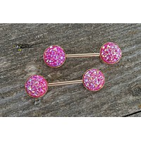 Pink Druzy Rose Gold Nipple Barbells Nipple Piercings