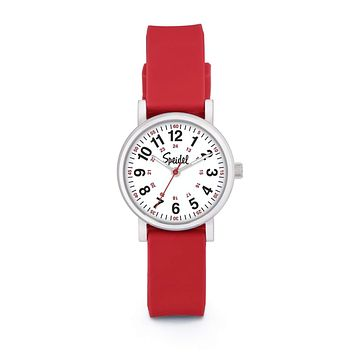 Speidel Women's Scrub Petite Watch for Medical Professionals - Easy to Read Small Face, Luminous Hands, Silicone Band, Second Hand, Military Time for Nurses, Doctors,Students in Scrub Matching Colors Red