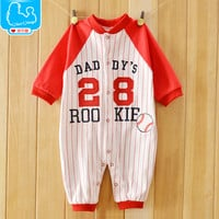 Fashion Baby Rompers Baseball Sport Jumpsuit New Born Babies Comfortable Clothing 0-12M Baby Boy Girl Wear Newborn Baby Clothing