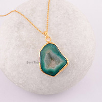 Green Slice Agate Druzy Pendant - Micron Gold Plated 925 Sterling Silver Necklace Jewelry, Wholesale Necklace - #6623