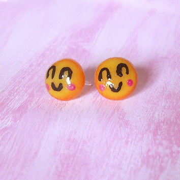 Earrings smile emoticon in porcelain allergenic studs for sensitive ears shaped by hand, gift idea, emoji kawaii