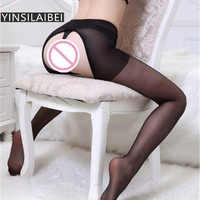 Ultrathin Ladies Black Lace Crotchless Tights Women Open Crotch Pantyhose Stockings Sexy Collant Femme Panty Hose Women QQ125#34
