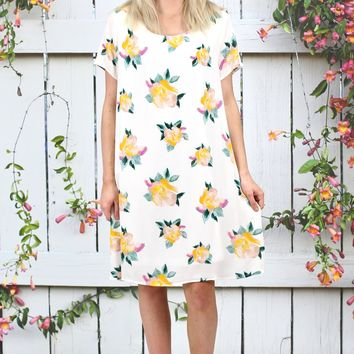 Emery Floral Bouquet Dress {Ivory Mix} - Size SMALL