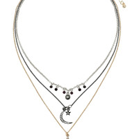 Multi-Row Leaf And Moon Necklace