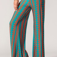 Rust & Teal Vertical Print Wide Leg Pants