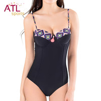 Black Retro Bathing Suit One Piece Solid Push Up
