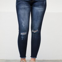 Frayed Dark Blue Shredded Skinny Denim