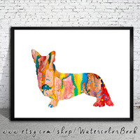 Corgi 2 Watercolor Print, Home Decor, dog watercolor, watercolor painting, Corgi art, Corgi poster, Corgi Illustration, dog Illustration