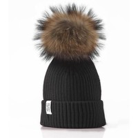 LUX FUR POM BEANIE BLACK WITH BROWN FUR