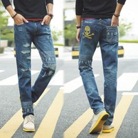 Fashion Ripped Holes Jeans Strong Character Stylish Straight Jeans [6541762627]