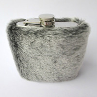 Furry Glam Liquor Flask for Women, Luxury 6oz Hip Flask, Gray Faux Fur, 21st Birthday Gift, Bridesmaid, Maid of Honor