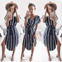 Striped V-neck Sundress