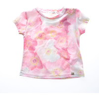 Fun&Fun - Girl Basic Short Sleeve T-Shirt With Flower Design, Pink
