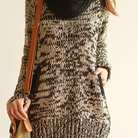 Winter Loose Ivory Black Mixed Color Tone Knitted Sweater