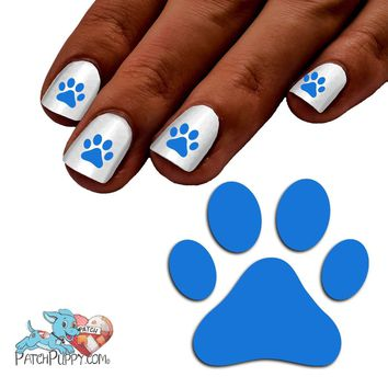 Royal Blue Team Spirit Paw Print - Nail Art Decals (Now! 50% more FREE)