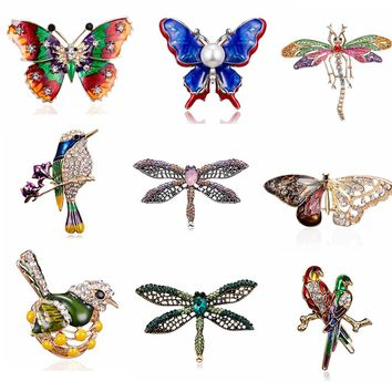 Rinhoo Enamel animal bird butterfly Dragonfly Brooches For women girl wedding Engagement Crystal Brooch Pins Christmas Gift