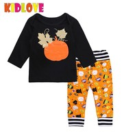 Kidlove Baby Unisex Cotton Sets Stylish Pumpkin Long-sleeved Tops Matching Pants for Halloween Day 9 month-12 month Baby SAN0