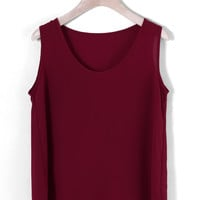 Wine Red Chiffon Top Red S/M