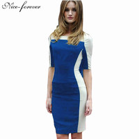 Spring 2016 Illusion Pencil dress Women Patchwork Vintage Tunic Pinup Shift business Half Sleeve Sheath Bodycon Dresses BTY439
