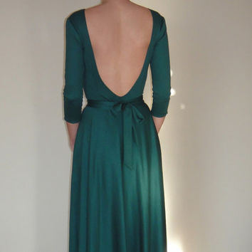 Green Maxi Evening Dress,With Sleeves,Long Prom Dress,Elegant Bridesmaid Floor lenght Dress,Low back,With pockets,Open Back Cocktail dress.