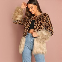 Contrast Faux Fur Coat Leopard Print Jacket Women Long Sleeve Outerwear Casual Womens Coats Jackets