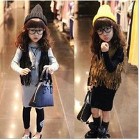 Girls Sleeveless Tops Cardigan Children Clothing Child Tank Top Kids Clothes Kid Fringe Vest Jacket 2014 Spring Summer Brown Black.