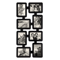 Black Wood Wall Hanging Picture Photo Frame (8 Opening)