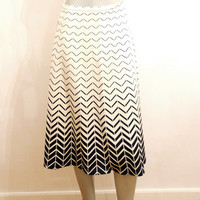 Black & White Contrast Midi Skirt, Monochrome A-line Vintage Skirt, Ombre Skirt With Abstract Pattern