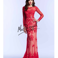 Mac Duggal 62062M Red Long Sleeve Lace Open Back Gown 2015 Prom Dresses