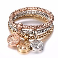 3Pcs Tree of Life Bracelet Popcorn Owl Heart Anchor Musical Note Charm Bracelets For Women Boy & Girl Jewelry