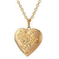 Memory Locket Pendant Necklace with Chain