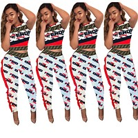 Fendi Fashion New More Letter Print Top And Pants Sports Leisure Two Piece Suit Women