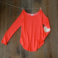 NEW Sequin Elbow Patch Slouchy Pullover in Coral -  Women's Long Sleeve French Terry Tee Now available in XL