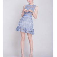 Blue Lace Strapless Mini Dress