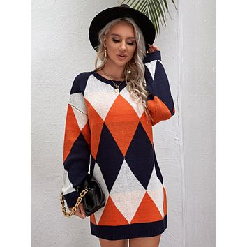 Drop Shoulder Argyle Pattern Sweater Dress