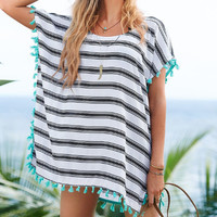 Swimsuit Cover Up ~ Tassels and Waves Swimsuit Cover Up, Kimono