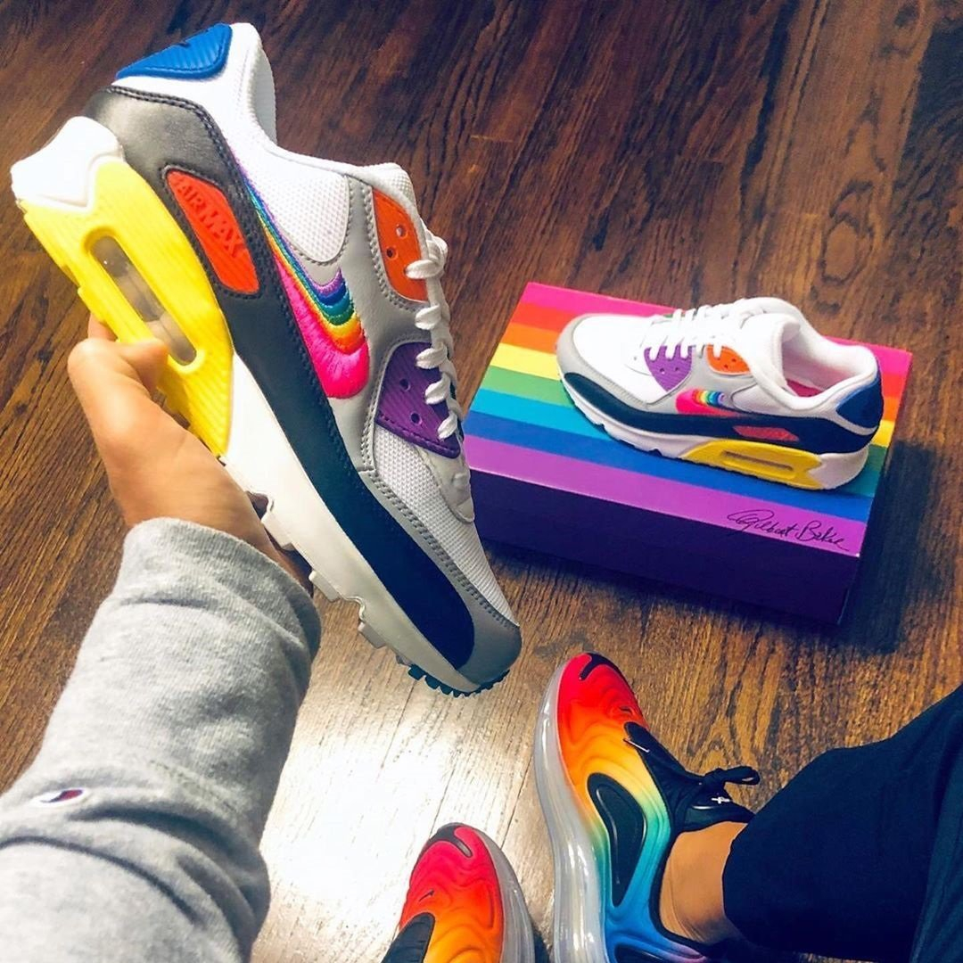 """Image of Nike Air Max 90 """"BeTrue"""" rainbow color block half palm cushioned sneakers shoes"""